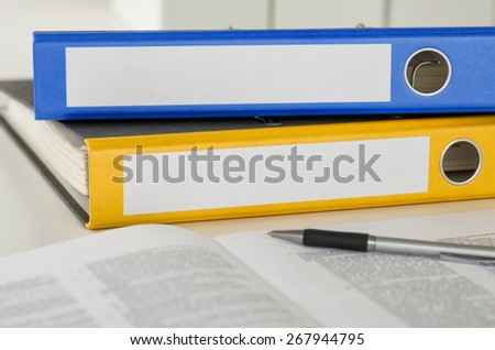 Two folders with empty labels - stock photo
