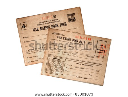 Two food and commodity ration books from World War 2.