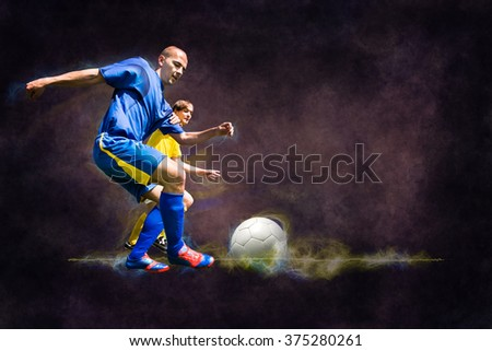 two football players from opposing team on the field - stock photo
