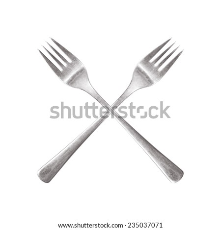 two fork cutlery pieces forming an x letter - stock photo