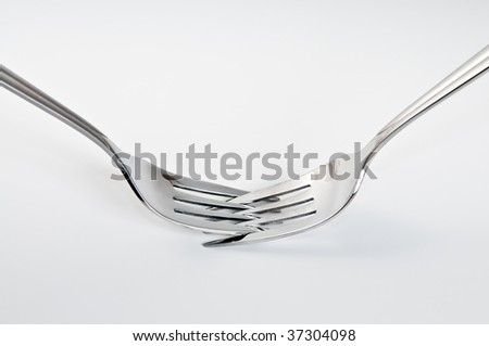 Two fork on white background - stock photo