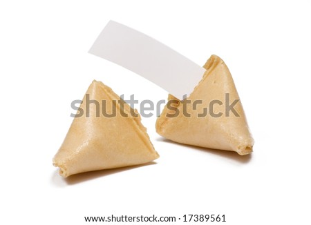 Two fortune cookies isolated on white with blank fortune message - stock photo