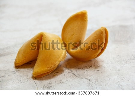 Two fortune cookies, selective focus - stock photo