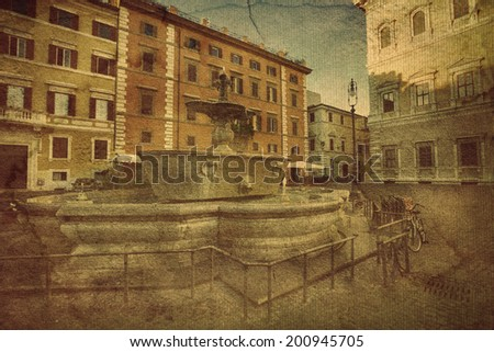 two fountains from old bathtub in square if front of embassy of France. Rome. Italy.  Picture in artistic retro style.