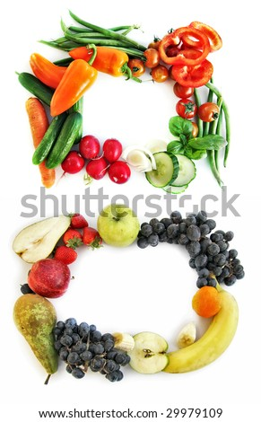 two frames form vegetables and fruits - stock photo