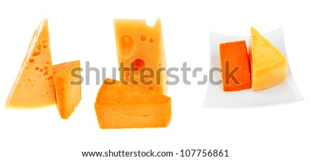 two french gourmet yellow cheeses  isolated over white background - stock photo