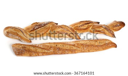 two french sticks in front of white background
