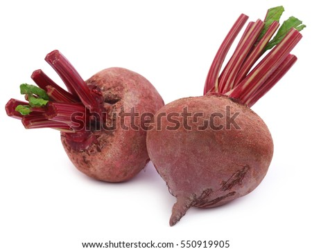 Two fresh Beets over white background