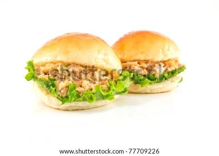 Two fresh burger with tuna - stock photo