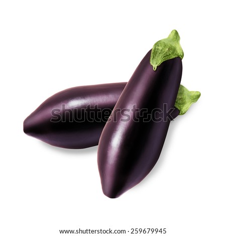 Two fresh eggplant isolated on a white background - stock photo