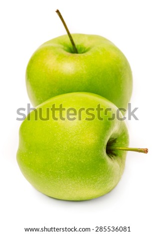 Two fresh green apple isolated on white background - stock photo