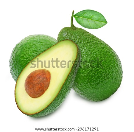 Two fresh green ripe avocado whith leaf and slice of avocado with core isolated on white background. Design element for product label, catalog print, web use. - stock photo