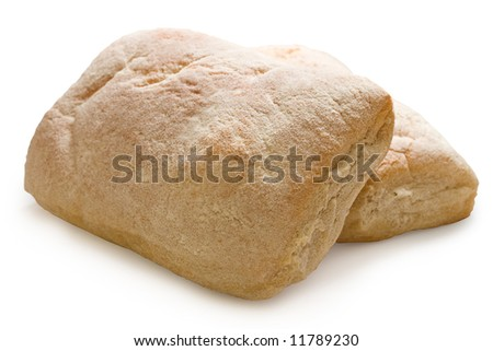 Two fresh loaves of ciabatta isolated on white. - stock photo