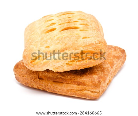 Two fresh puff pastry isolated on a white background
