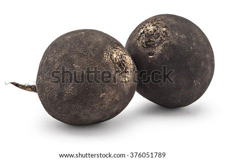 Two fresh ripe organic black radishes isolated on white background - stock photo