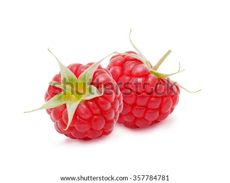 Two fresh ripe raspberry berries with stem isolated on white background. Design element for product label, catalog print, web use. - stock photo
