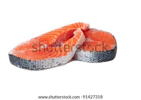 two fresh steak salmon isolated white background - stock photo