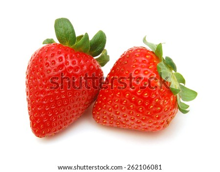 Two fresh strawberries isolated on a white background - stock photo