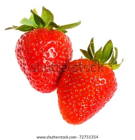 two fresh strawberries isolated on white background - stock photo