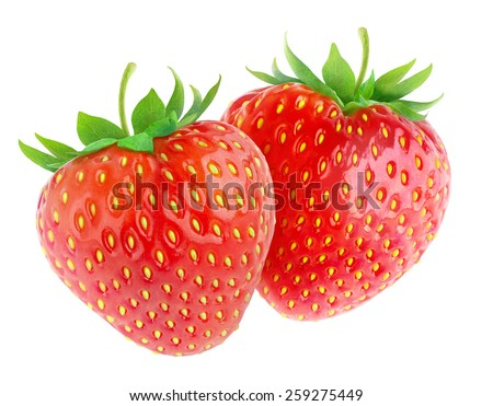 Two fresh strawberries isolated on white background, with clipping path - stock photo