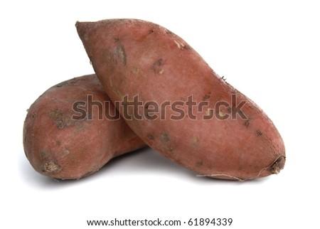 Two fresh sweet potatoes - stock photo