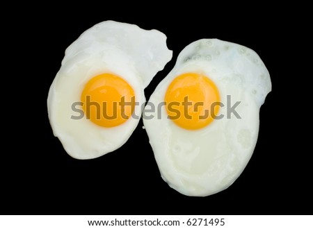 Two fried eggs in a black pan - stock photo