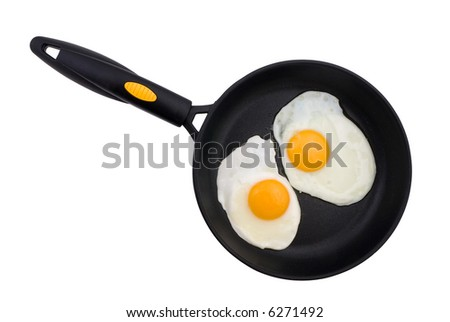 Two fried eggs in a frying pan isolated on white - stock photo