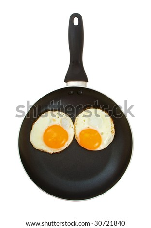Two fried eggs in a frying pan over white background suggesting eyes on a face