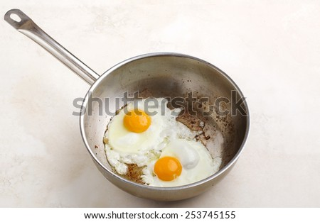 Two fried eggs in a pan close-up. Scrambled eggs - stock photo
