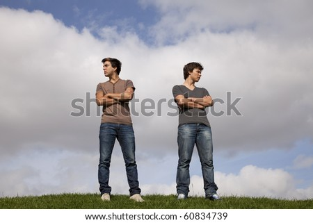 two friends arguing at the park - stock photo