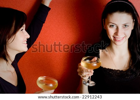 two friends at a party - stock photo