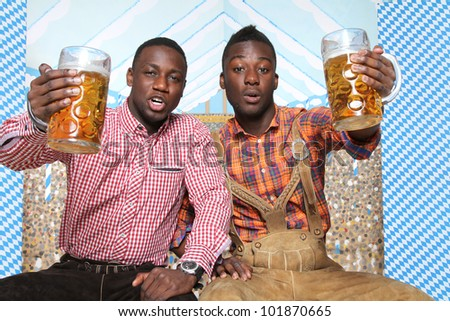 two friends at the oktoberfest - stock photo