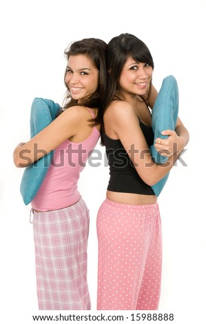 Two friends dressed in pyjamas together