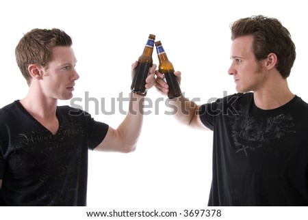 Two friends having a beer. - stock photo
