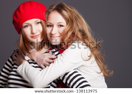 two friends in the studio - stock photo