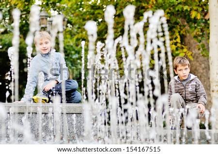 two friends near the   waterworks - stock photo