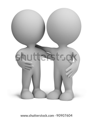 two friends standing next to an embrace. 3d image. Isolated white background.