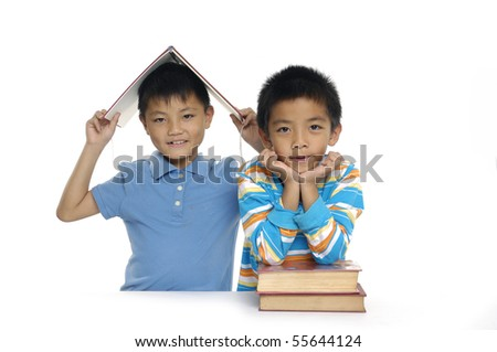 Two friends students a over white background - stock photo
