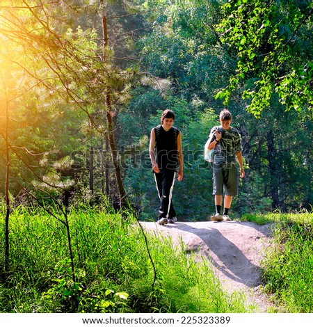 Two Friends walking in the Summer Park - stock photo