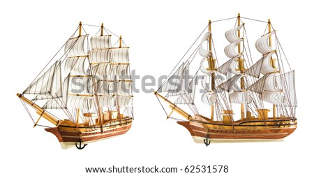 two frigates is isolated on a white background