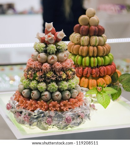 two fruit cake with nine tiers on the table - stock photo