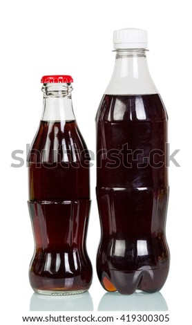 Two full bottles of cola isolated on white background. - stock photo