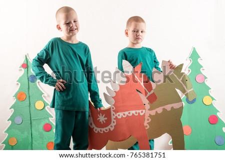 Two Funny Boys Santa Claus Hat Stock Photo Royalty Free 765381751