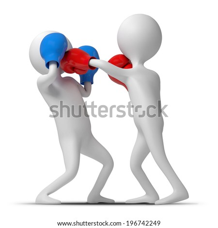 Two funny characters are boxing in the ring. 3d Illustration isolated on a white background - stock photo