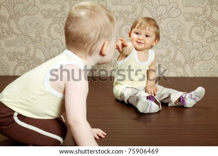 two funny children - stock photo