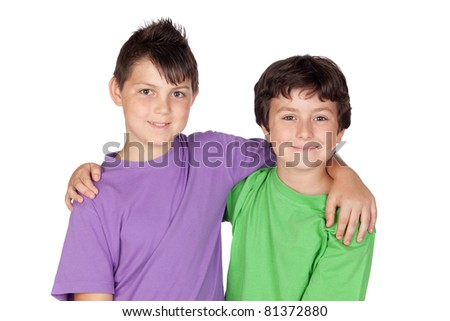 Two funny children isolated on white background - stock photo