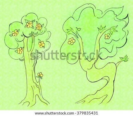 Two funny flowering tree. The basis of a pencil