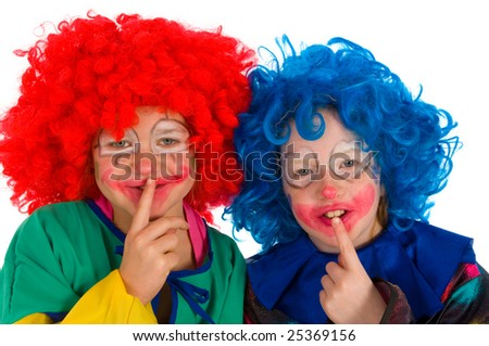Two funny little clowns - stock photo