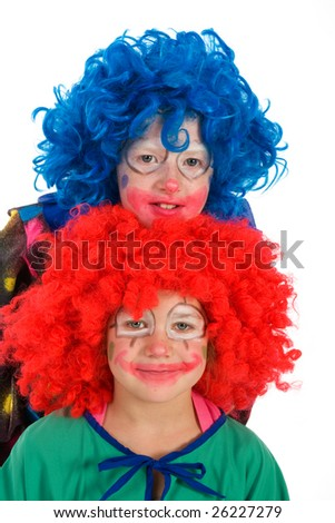 Two funny little clowns with orange and blue hair - stock photo