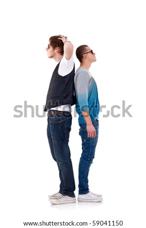 two funny men - looking to both sides, wondering what's to do - stock photo